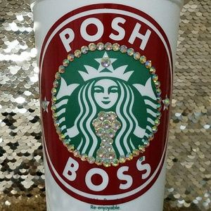Poss Boss Starbucks Plastic 16 Oz.Bling Coffee Cup